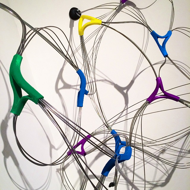 Detail of Recent wall mounted sculpture shown at Lost & Foundry Gallery. 3D printed joints and stainless steel rod. #almostscientific