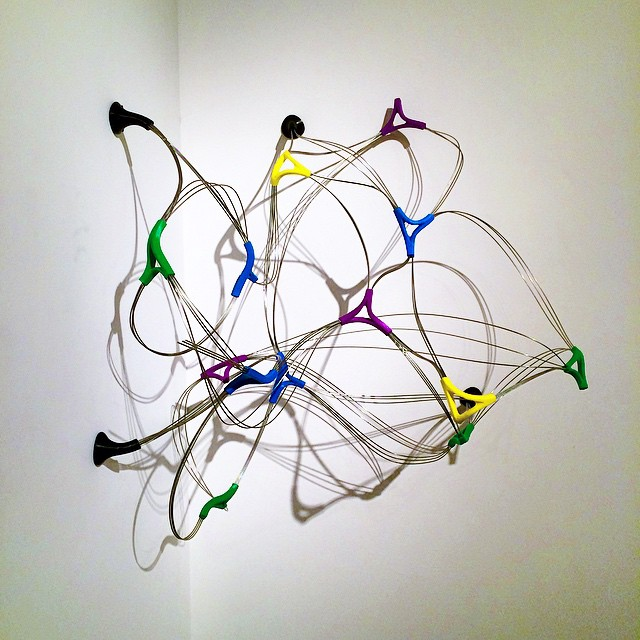 Recent wall mounted sculpture shown at Lost & Foundry Gallery. 3D printed joints and stainless steel rod. #almostscientific